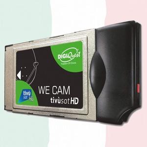 We CAM SmartCam Modul von DIGIQuest - HD CI+ WiFi Modul mit WPS Taste, für den Empfang von italienische HD/ 4K Kanäle über Satellit Eutelsat HotBird 13,0° Ost (ohne TiVuSat Karte)