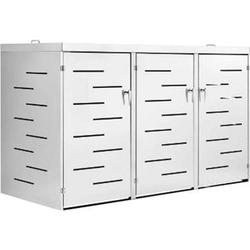 Juskys 3er Edelstahl Mülltonnenbox Arel mit Schiebedach & verschließbaren Türen