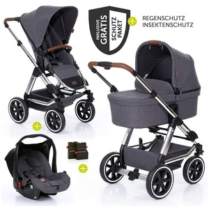 ABC Design Kombi-Kinderwagen Condor 4 Air - Diamond Edition - Asphalt, (9-tlg), 3in1 Kinderwagen-Set - inkl. Babywanne, Babyschale & Zubehörpaket