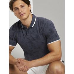 TOM TAILOR Denim Poloshirt Poloshirt mit tropischem Hawaii-Print blau M