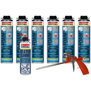 Soudal Sparset 6x Flexifoam Fensterschaum 500ml + Schaumpistole Compact + Pistolenreiniger