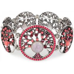 styleBREAKER Armreif Armband mit Lebensbaum Amuletten mit Perlen & Strass, Armband mit Lebensbaum Amuletten mit Perlen & Strass rosa