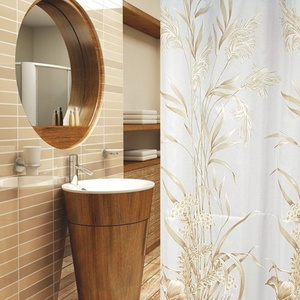 KS Handel 24 Textil DUSCHVORHANG Hellbraun Weiss 240x200 INKL. QUALITÄTSRINGE 240 x 200! Shower Curtain Light Brown, White!