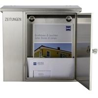 Heibi Briefkasten mit integriertem Zeitungsfach Edelstahl (43661)