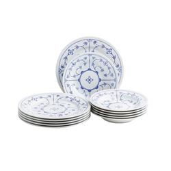 Kahla Geschirr-Set Tafelservice 12 tlg. Blau Saks (12-tlg), Porzellan