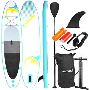 Nemaxx PB320 Stand up Paddle Board 320x78x15cm, türkis/gelb - SUP, Surfbrett, Surf-Board - aufblasbar & leicht zu transportieren - inkl. Tasche, Paddel, Finne, Luftpumpe, Repair Kit, Fuß-Leine