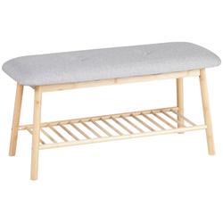 axentia Sitzhocker Sitzbank, Bambus, mit Ablage