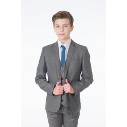 Melli-Trends Anzug 5-teilig Premium Jungen Anzug, 5-telig, grau (Set: Sakko, Hose, Weste, Hemd und Krawatte) Slim Fit, Modern, Hochzeitsanzug 134