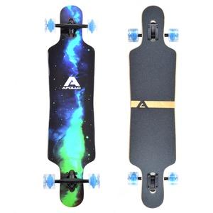 Apollo Longboard Galaxy Special Edition Komplettboard mit High Speed ABEC Kugellagern, Drop Through Freeride Skaten Cruiser Boards Farbe: Sternennebel/Grün