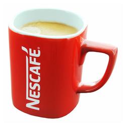 NESCAFE Becher Kaffeebecher mit Henkel, rot, 275 ml, Porzellan