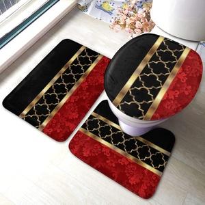 Meiya-Design Elegant Rot Schwarz Gold Vierpass-Muster Badezimmerteppich-Set 3-teilig – Weiche Dusch-Badteppiche – Konturmatte und WC-Deckelbezug – perfekte Kombination aus Luxus und Komfort