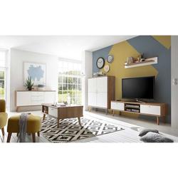 Moderne Wohnwand in Weiß und Eiche Skandi Design (5-teilig)