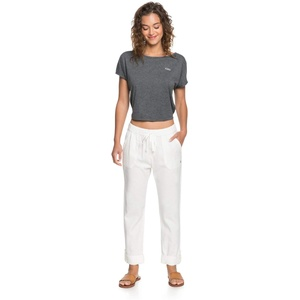 Roxy Damen Non-Denim Pants On The Seashore - Elastische Leinen-Hose für Frauen, Snow White, S, ERJNP03294