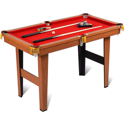 COSTWAY Billardtisch Billard-Spiel, 4 ft Billardtisch mit 2 Queues und 16 Kugeln, Tischbillard für Kinder, Familienspiele
