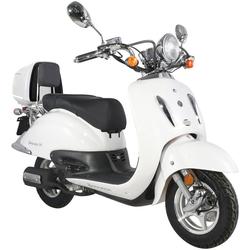 Alpha Motors Motorroller Firenze, 50 ccm, 45 km/h, Euro 4, 50 ccm, 45 km/h, weiß inkl. Topcase