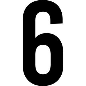 ShirtInStyle Zahlen selbsklebende Aufkleber, von 2-20cm Höhe, Mülltone, Haustür, Basteln, Boote, Nummern, Kennzeichen, Ziffer 6-2cm, schwarz