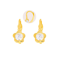 Stella-Jewellery Paar Ohrstecker 585 Gold Kinder Klappbrisur Ohrringe Blume Model 2, Ohrhänger Kinder Mädchen