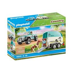 Playmobil® Spielfigur PLAYMOBIL® 70511 PKW mit Ponyanhänger