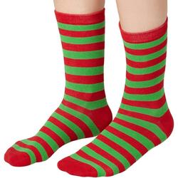 tectake Kuschelsocken Weihnachtssocken gestreift grün-rot (1-Paar) 35-38