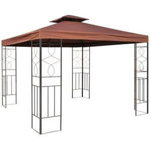 habeig WASSERDICHTER Pavillon Romantika 3x3m Metall inkl. Dach Festzelt wasserfest Partyzelt (Braun)