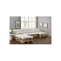 en.casa Palettenkissen, Ingenio Palettensofa 5-Sitzer Palettenmöbel inkl. Kissen Lehnen und 8 Paletten Weiß weiß