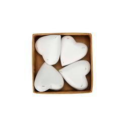 Posiwio Teelichthalter Holzherz LENA weiß shabby chic Herzen aus Holz in einer Box Landhaus Herz 4tlg.