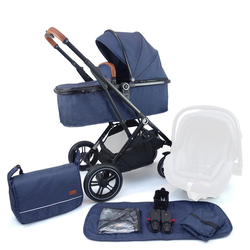 Pixini Kinder-Buggy, Kinderwagen Lania 2 in 1 inkl. Regenplane und Wickeltasche blau