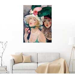 Posterlounge Wandbild, Zwei Kokotten mit Hüten 70 cm x 90 cm