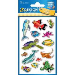 Sticker 76x120mm Papier 3 Bogen Fische + Delfine