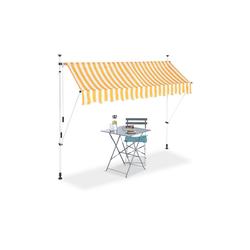 relaxdays Klemmmarkise Klemmmarkise gelb weiß 250 cm x 120 cm x 300 cm
