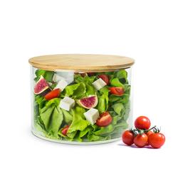 Sendez Schüssel Glasschale mit Holzdeckel Salatschale 20cm Schale Schüssel Glasdose