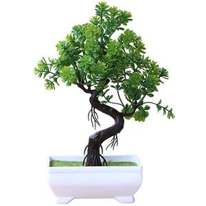 Bangle009 Künstlicher Topfbaum, Bonsai, Kunstpflanze, Heimdekoration, Tischdekoration, Grün