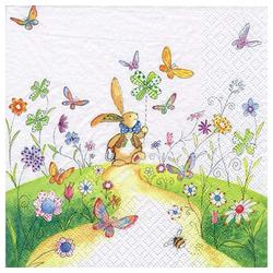 Linoows Papierserviette 20 Servietten, Ostern spazierender Hase auf blühen, Motiv Ostern spazierender Hase auf blühender Wiese