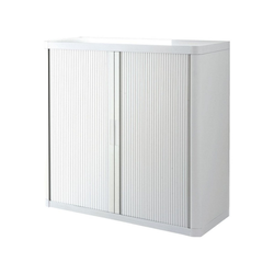 EASYOFFICE Rollladenschrank easyOffice Korpus weiß, Griff farbig weiß 110 cm x 104 cm x 41.5 cm