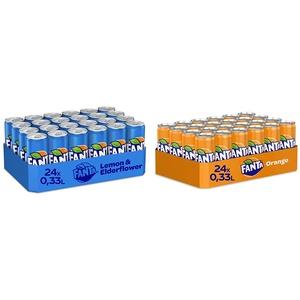 Fanta Lemon & Elderflower 24er Pack, EINWEG (24 x 330 ml) & Orange EINWEG Dose, (24 x 330 ml)