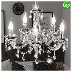 etc-shop Kronleuchter, Kronleuchter Wohn Zimmer Kristall Decken Hänge Lampe Chrom im Set inkl. LED Leuchtmittel