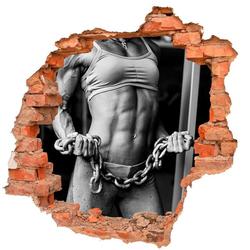 DesFoli Wandtattoo Sport Fitness Bodybuilding Frau Kette B1108 60 cm x 58 cm