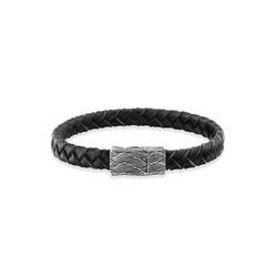 CAÏ Armband 925/- Sterling Silber oxidiert Lederband 21cm, Lederband