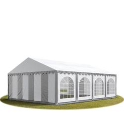 Toolport Partyzelt 6x8m PVC 500 g/m² grau wasserdicht Gartenzelt, Festzelt, Pavillon