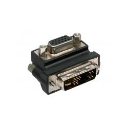InLine VGA-Adapter HD-15 VGA W bis DVI-A M 90° Stecker Distanzschrauben Daumenschrauben Schwarz (17780W)