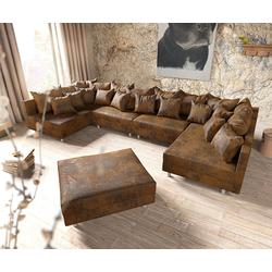 DELIFE Wohnlandschaft Clovis XL Braun Antik Optik modular Hocker, Design Wohnlandschaften, Couch Loft, Modulsofa, modular