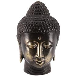 Guru-Shop Buddhafigur Buddha Kopf, Buddha Büste, Figur aus Messing 7..