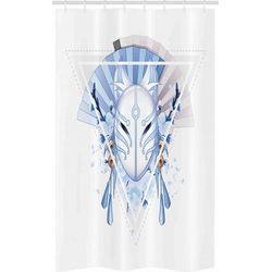 Abakuhaus Duschvorhang Badezimmer Deko Set aus Stoff mit Haken Breite 120 cm, Höhe 180 cm, Kabuki-Maske Fox Mask Kitsune