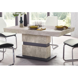 Homexperts Säulen-Esstisch Marley Az, ausziehbar, in 2 Größen (140 + 160) grau 140 cm x 75 cm x 90 cm