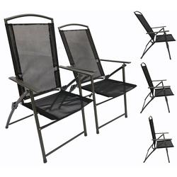 VCM Gartenstuhl Set Metall - Gartenstuhl verstellbar schwarz