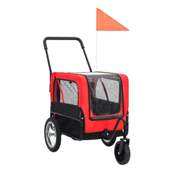 vidaXL Fahrradhundeanhänger vidaXL 2-in-1 Tier-Fahrradanhänger und Jogger Rot und Schwarz rot