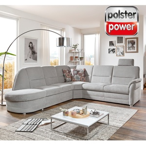 polsterpower Ecksofa - silber - Microchenille - Recamiere links