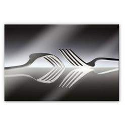 Wall-Art Küchenrückwand Silber Besteck Spritzschutz, (1-tlg) bunt 100 cm x 70 cm x 0,4 cm