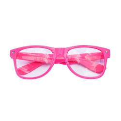 Nerdbrille Hornbrille 80s Retro Nerd Streber Brille - light rosa