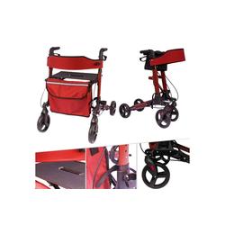 Arebos Rollator Alu Rollator Klappbar mit Einkaufstasche rot, Aus stabilem Aluminum